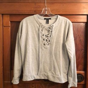 Forever 21 gray sweatshirt w/ tie at chest sz s